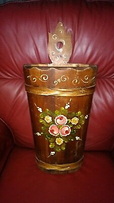 Vintage Solid Wood Tole Hand Painted Umbrella Stand Europe Toleware