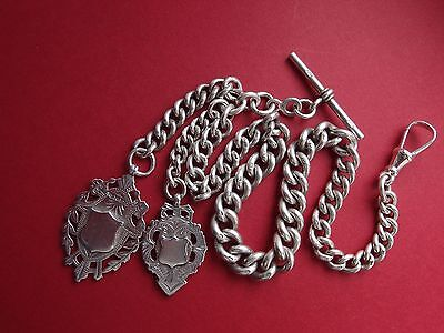 94g HEAVY 1900 VICTORIAN HM SILVER ALBERT CHAIN + TWO DOUBLE SIDED SILVER FOBS
