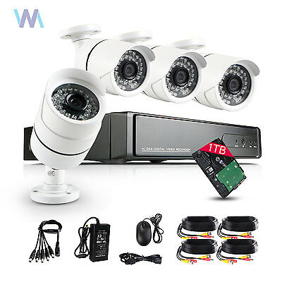 1TB  4CH Full 1080N HD DVR 2.0MP Outdoor CCTV Home Security Camera System Kit