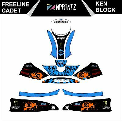 Freeline Cadet Ken Block Style Full Kart Sticker Kit Karting  -Cadet-Rookie