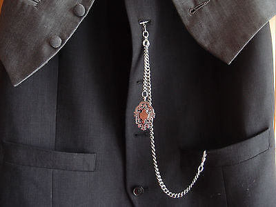 1897 ANTIQUE VICTORIAN HM SILVER ALBERT CHAIN DOUBLE SIDED 9ct GOLD SILVER FOB