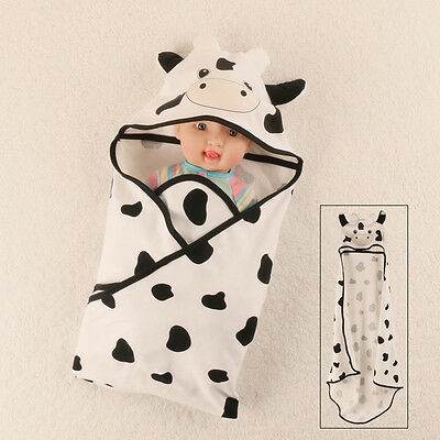 Kids Cute Unisex Cow Bathrobe Hooded Bath Towel Wrap Bathing Robe Size 85*85cm