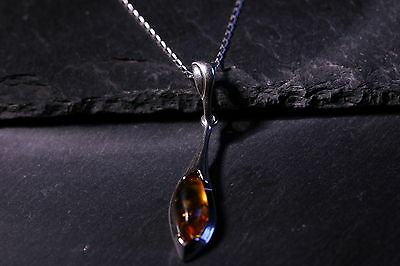 Gorgeous Baltic Amber And Sterling Silver Necklace - Sterling Silver Chain