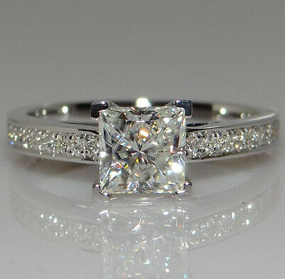1CT White Sapphire Birthstone 925 Silver Wedding Bridal Ring Gift Size 4-10