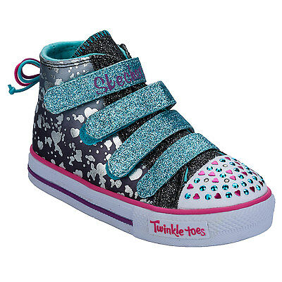 Infant Girls Skechers Skip & Jump Twinkle Toes Trainers Turquoise - Soft Canvas