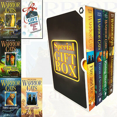 Warrior Cats Series Erin Hunter 4 Books Collection With Journal Gift Wrapped Sli