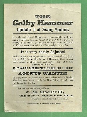 1870 Advertising Flier THE COLBY HEMMER SEWING MACHINE Victor Sewing Machine