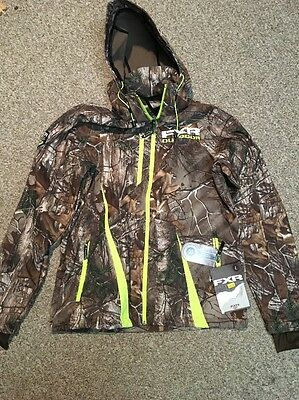 FXR Mountain Softshell Mission Jacket Hoodie Large L Realtree Camo Hi-vis