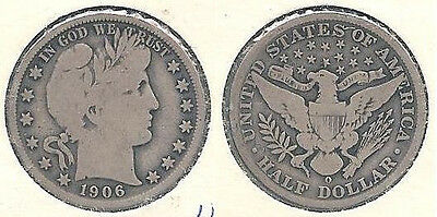 1906-O Silver Barber Half Dollar (50-cent Coin) in Very Good+ Condition ~