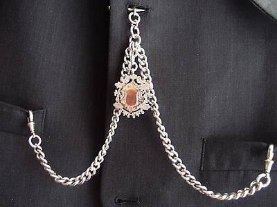 1915 SILVER double ALBERT POCKET WATCH CHAIN double sided 9ct silver FOB 73g