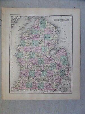 Antique 1874 Map of Michigan with Northern Michigan on the Reverse