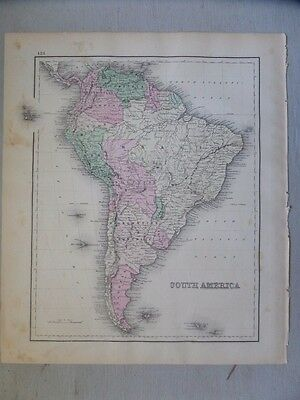 Antique 1874 Map of South America with West Indies and Central Amer. on the Back