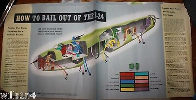 WWII US Military Training Poster How to Bail Out of a B-24 Liberator Bomber
