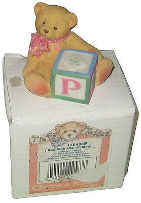 "Enesco Cherished Teddies Bear With ABC ""P"" Block"