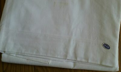 """UNUSED VINTAGE TWIN OR SINGLE WHITE FLAT TOP SHEET ~ ALL COTTON ~ 54""""x85"""""""