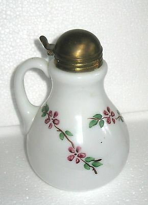 Vintage Hand Painted Flowers Milk Glass Syrup Pitcher ~ Brass Lid