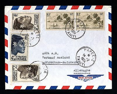 15930-ETs.FRANÇAIS DE L´OCEANIA-AIRMAIL COVER PAPEETE to GERMANY.1954.French.
