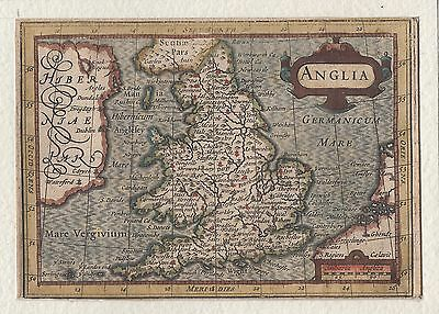 c. 1616 mounted map of England & Wales ( Anglia ) by Petrus Bertius