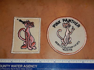 LOT OF 2 VINTAGE ORIGINAL 1970s PINK PANTHER PATCHES     NOS