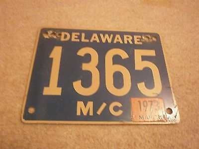 Usa American Delaware Motorcycle March 1973 Gold/blue # 1365 Rare License Plate