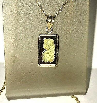 Pure 9999 Gold ~1~Gram ~ Lady Fortuna ~ Pamp Suisse ~14-Kt Gold Pendant ~ $95.88