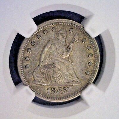 1857 Seated Liberty Silver Quarter Ngc Xf45        (2192Nam)