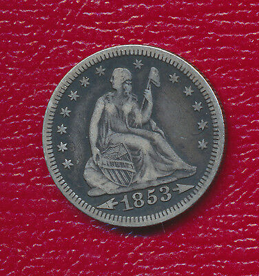 1853 Seated Liberty Silver Quarter **variety With Arrows & Rays** Free Shipping!