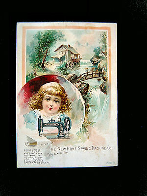 Victorian trade Card=NEW HOME SEWING MACHINE-River Home-well-Bridge=inset Girl