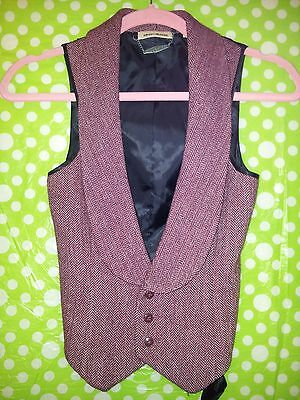 BNWOT DKNY Crimson Red Tweed 65% Wool Blend Tailored Waistcoat - Size 4