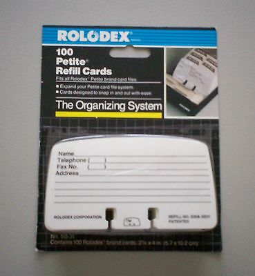 Rolodex Petite Refill Cards New Package of 100