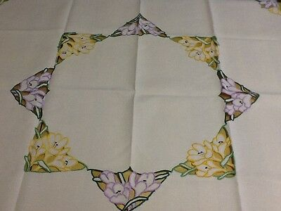 "Beautiful vintage embroidered cutwork floral linen tablecloth 33"" Square TC129"