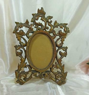 Antique Cast Bronze Rocco Picture Frame Easel Back  Oval Aged Patina  c1900
