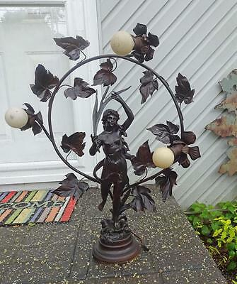 Antique Art Nouveau Spelter Figural Newel Post Lamp Kossowski France