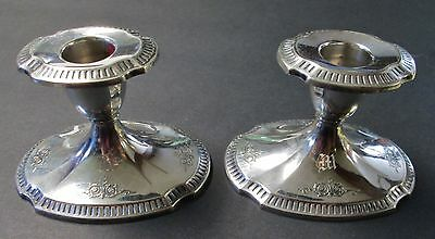 GROSVENOR Pair of Silverplated Console Candle Sticks Georgian Style Elegance
