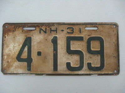 1931 New Hampshire License Plate,number 4-159,green On White