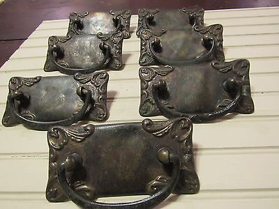 Late 1800s Metal Drawer Pulls/Handles With Backplate