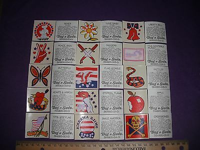 Very Scarce Complete Set 1976 Dog `n Suds Press-On Temporary Tatoos W/ Rover Wow