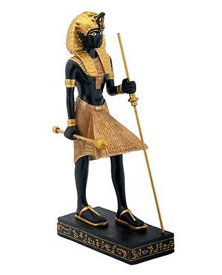 """8"""" Egyptian Tomb Guardian Statue King Tut Hand Painted Table Decor Black Gold"""