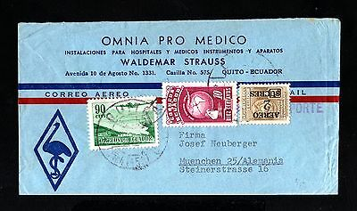 15635-ECUADOR-AIRMAIL COVER QUITO to MUENCHEN (germany)1955.Aereo.