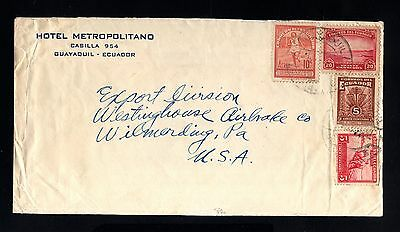 15835-ECUADOR-OLD COVER GUAYAQUIL to WILMERDING (usa)1939.