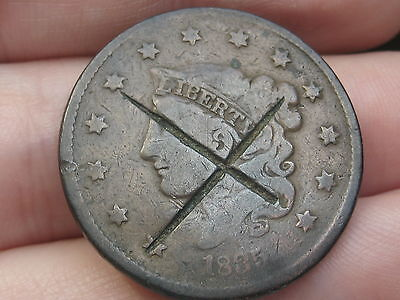 1835 Matron Head Large Cent Penny- Head of 1836, X Counterstamped?