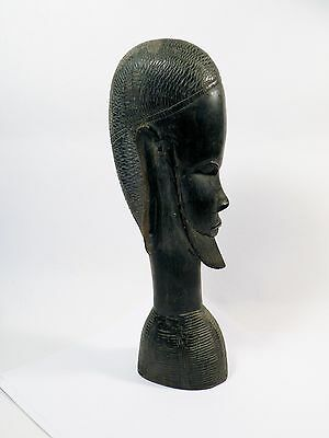 "YYo SCULPTURE CARVING AFRICAN hand carved bust of man, 12"" high"