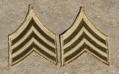 WW2 US Military Sergeant E4 Wool Army rank insignia chevrons matched pair