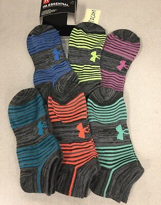 Under Armour Essential Twist NoShow Ankle Socks 6 pairs YLG Girl 1-4 women 4-6.5