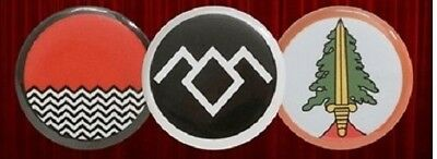 Twin Peaks 3 Button Pin Set Owl Cave  Black White Lodge Bookhouse Boys TV show