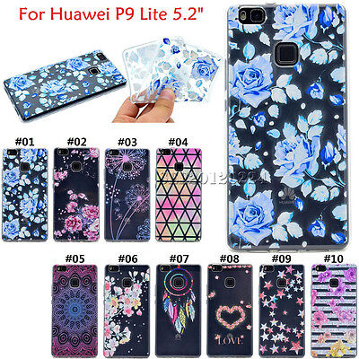 For Huawei P9 Lite Clear Slim Rubber Soft TPU Skin Back Cute Silicone Case Cover