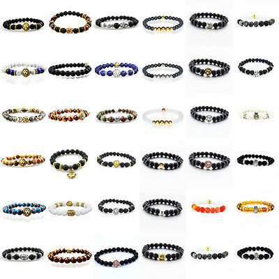 Wholesale 24 Piece Charm Men's 8MM Obsidian Beaded Stretch Fashion Bracelets