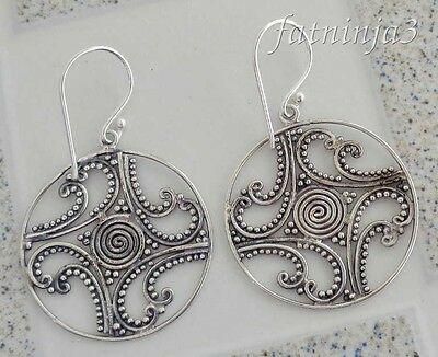 Solid Silver, 925 Bali Handcrafted Filigree Design Earring 37854