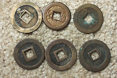 6PC Lot  Older China Japan Korea Cash Coins ? Mixed lot as pictured!