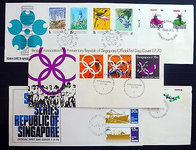 SINGAPORE 1970 Official FDC's (5) NB936